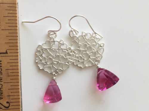 Trillion Pink Quartz Heart Earrings. Laser Cut