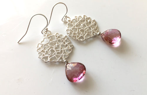 Mystic Pink Quartz Heart Earrings