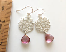 Load image into Gallery viewer, Mystic Pink Quartz Heart Earrings