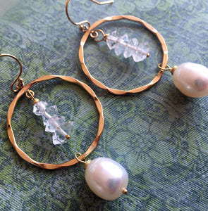 Herkimer Diamond and Pearl Hoops