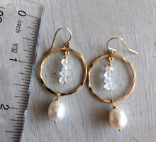 Load image into Gallery viewer, Herkimer Diamond and Pearl Hoops