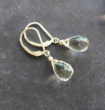 Load image into Gallery viewer, Ice Drop Rock Crystal Earrings, Metal Options