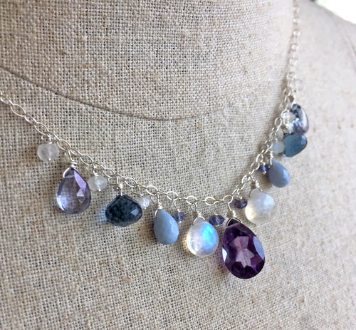 Icy Alexandrite Melee Necklace, gold, silver or rose gold metal options