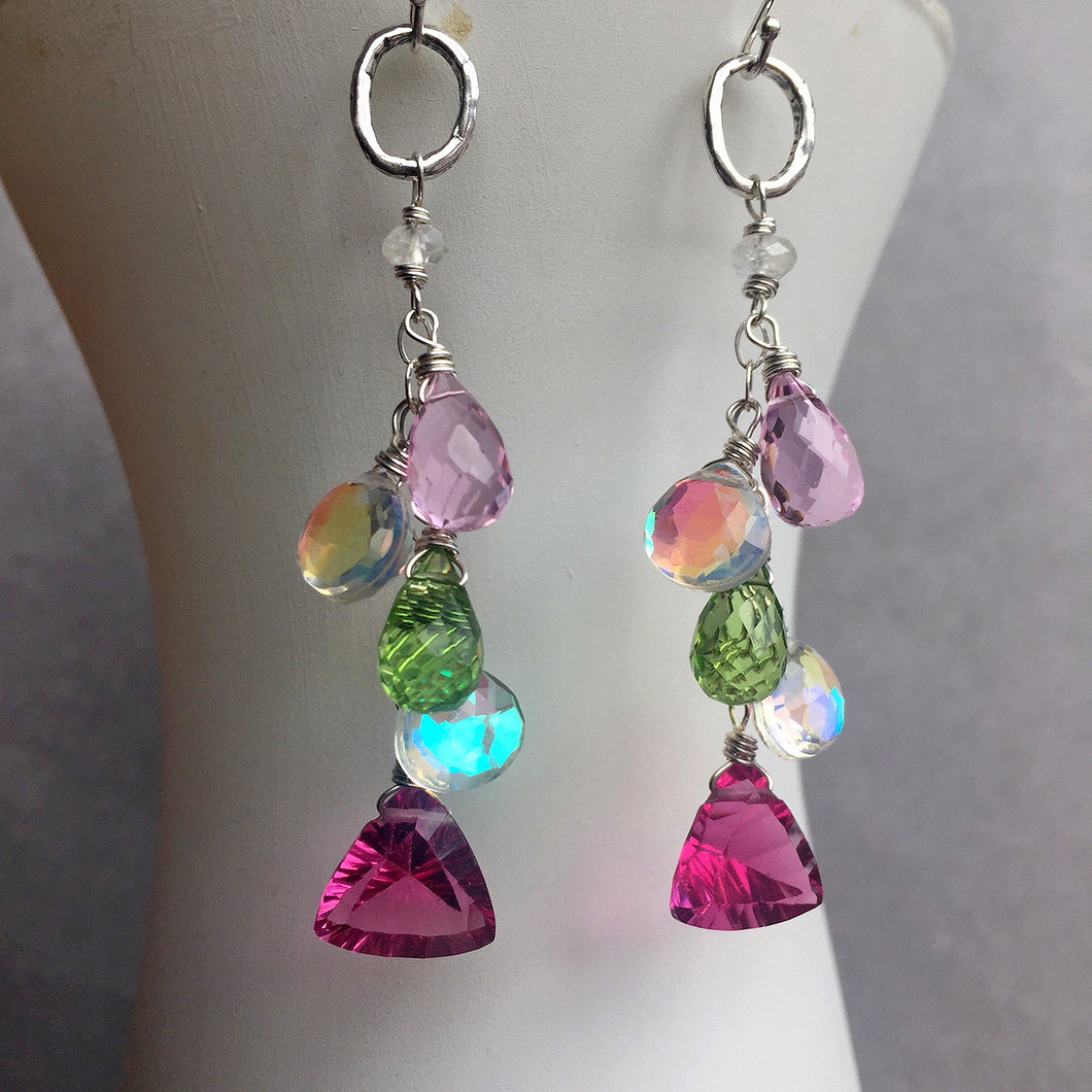 Icy Watermelon Cascade Earrings