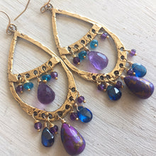 Load image into Gallery viewer, Amethyst and Purple Turquoise Bohemian Hoops