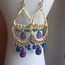 Load image into Gallery viewer, Amethyst and Purple Turquoise -If you've got it, flaunt it- Bohemian Hoops