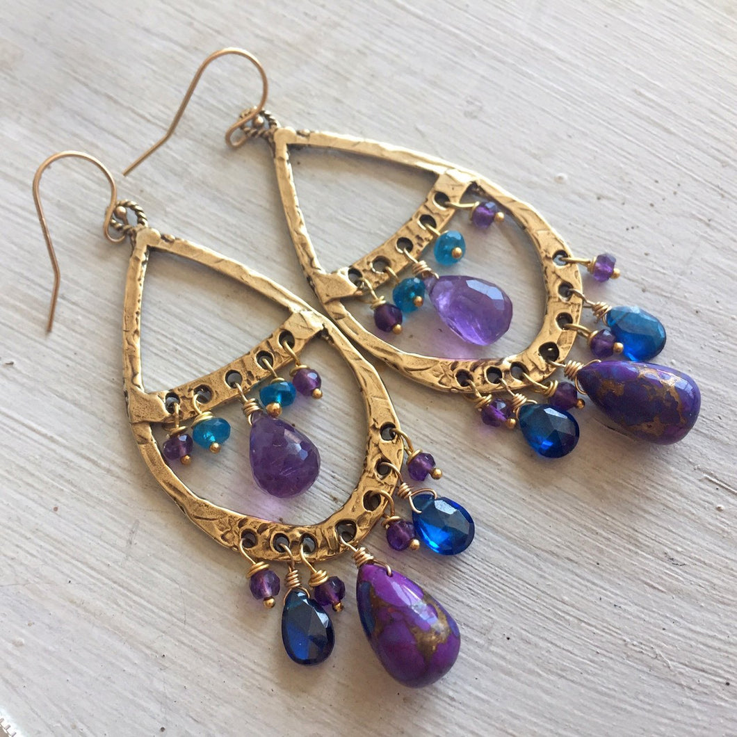 purple turquoise and amethyst bohemian hoops