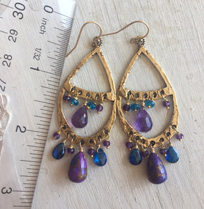 Amethyst and Purple Turquoise Bohemian Hoops