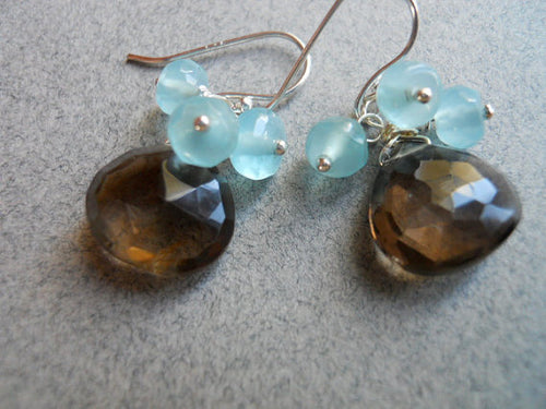 Blue Smoke smoky quartz and apatite blue quartz earrings