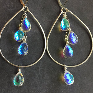 Fire Moonstone Double Decker Hoops, Sterling Silver