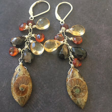 Load image into Gallery viewer, See second photo , Ammonite Marquise Cluster Earrings, OOAK MARQUISE shape see photos