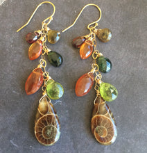 Load image into Gallery viewer, Fall Ammonite Cluster Earrings, OOAK