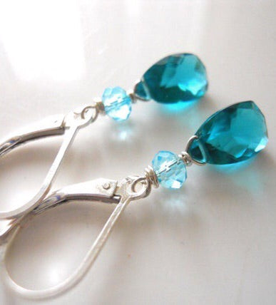 Teal Zeal Paraiba Blue Pyramid earrings
