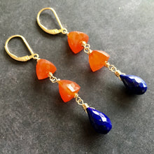 Load image into Gallery viewer, Carnelian and Lapis Lazuli Dangles
