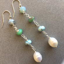Load image into Gallery viewer, Peruvian Opal and Pearl Dangles #2 OOAK