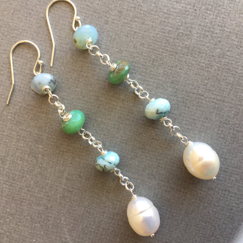 Peruvian Opal and Pearl Dangles #2 OOAK