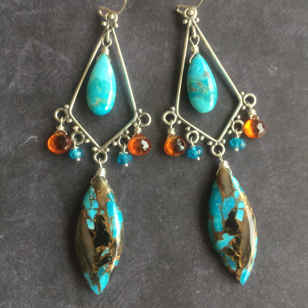 Ohh laa laa turquoise Paradise Chandelier earrings, OOAK