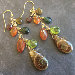 Fall Ammonite Cluster Earrings, OOAK