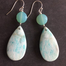 Load image into Gallery viewer, Amazonite and Chalcedony Dangles