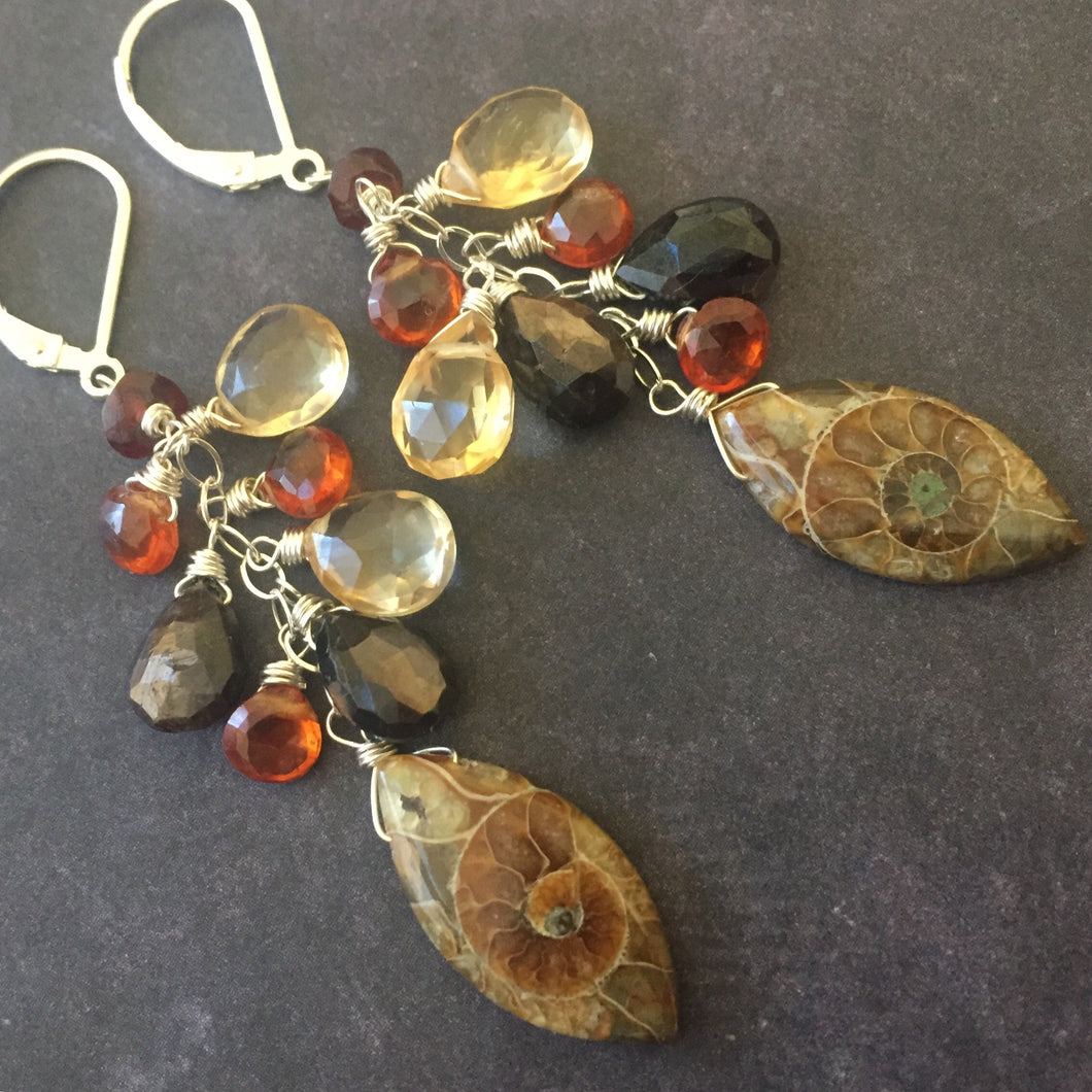 See second photo , Ammonite Marquise Cluster Earrings, OOAK MARQUISE shape see photos