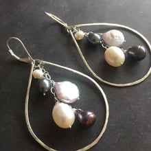 Load image into Gallery viewer, Pearlicious Multi-pearl Hoops Metal options available by request
