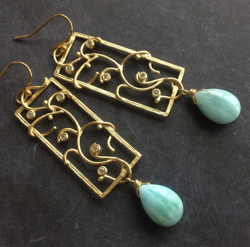 Larimar Vine Earrings, OOAK