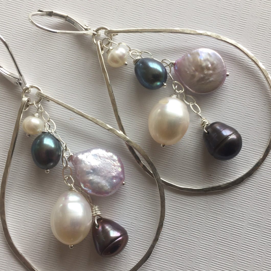 Pearlicious Multi-pearl Hoops Metal options available by request