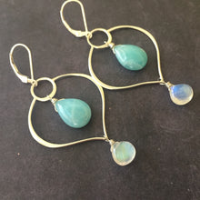 Load image into Gallery viewer, Absolute Zen Earrings, Larimar and Moonstone, OOAK