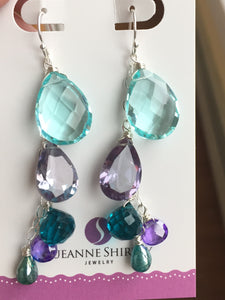 Spectacular Cascade Dangles featuring super sparkly color change Alexandrite quartz no. 2