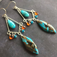 Load image into Gallery viewer, Ohh laa laa turquoise Paradise Chandelier earrings, OOAK