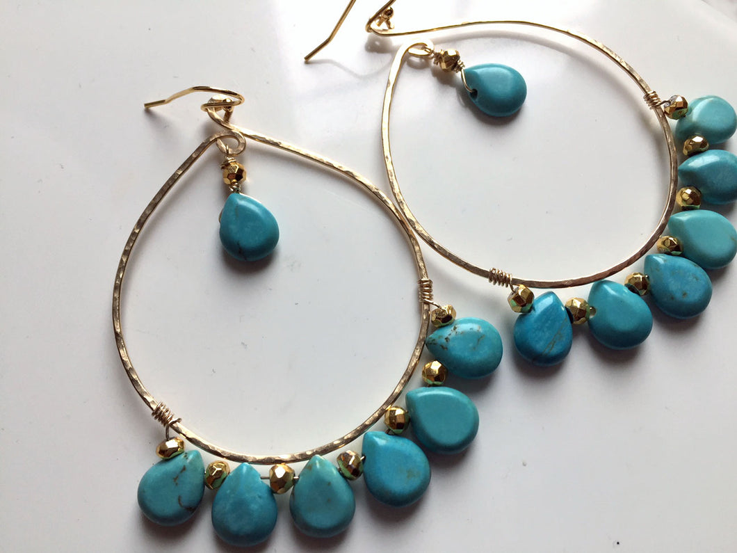 Inner Peace Hammered Hoop Earrings, Turquoise, Size LARGE, Metal choices