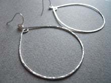 Load image into Gallery viewer, Inner Peace Hammered Hoop Earrings, Size LARGE Sterling Silver