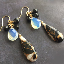 Load image into Gallery viewer, Ivory Obsidian Dangles, OOAK