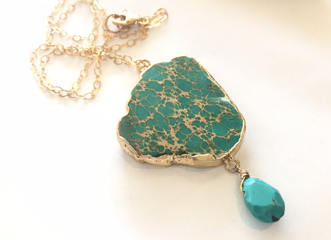 Jasper and Turquoise Chain Necklace- One of a Kind #2