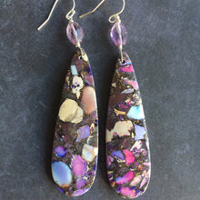 Load image into Gallery viewer, Jasper and Amethyst Dangle, OOAK