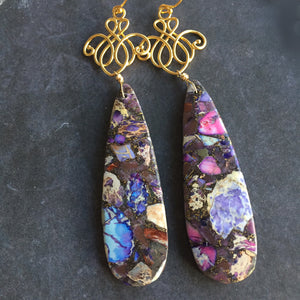Jasper Scroll Dangle, OOAK