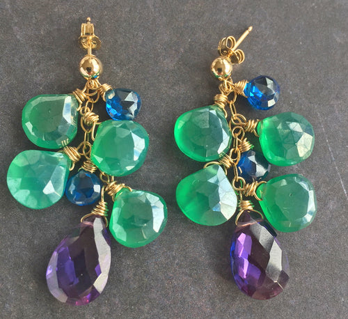 Jewel Tones Silverized Onyx and Kunzite Cluster, Earwire Options