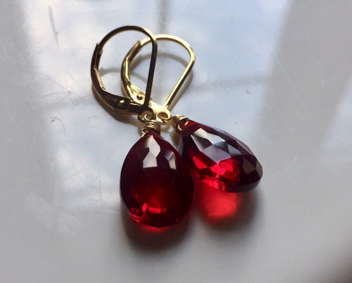 Just Perfect Garnet Red Danglers