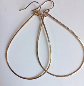 "Katie Hammered 2.5"" Hoop Earrings Size: Large, 14k Yellow Gold filled, 14K Rose Gold filled, Silver"