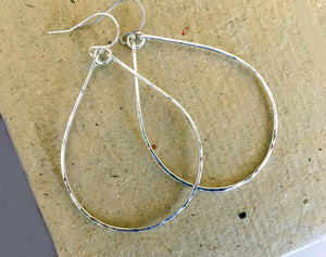 "KATIE Hammered 2"" Hoop Earrings Size: Medium , sterling, rose gold or gold"