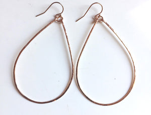 "Katie Hammered 2.5"" Hoop Earrings Size: Large, 14K Rose Gold, Yellow Gold or Silver  , Metal options"