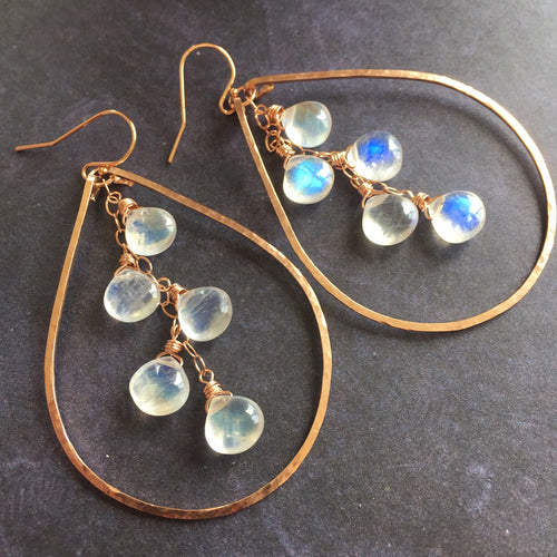 Kristiana Moonstone Cascade Earrings, Rose Gold filled, Yellow Gold Filled, or Sterling Silver Metal Choices