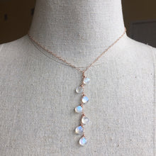 Load image into Gallery viewer, Kristiana Moonstone Cascade NECKLACE, Rose Gold filled, Yellow Gold Filled, or Sterling Silver Metal Choices