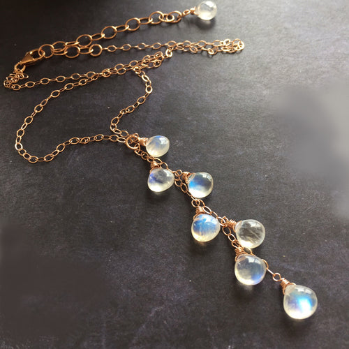 Kristiana Moonstone Cascade NECKLACE, Rose Gold filled, Yellow Gold Filled, or Sterling Silver Metal Choices