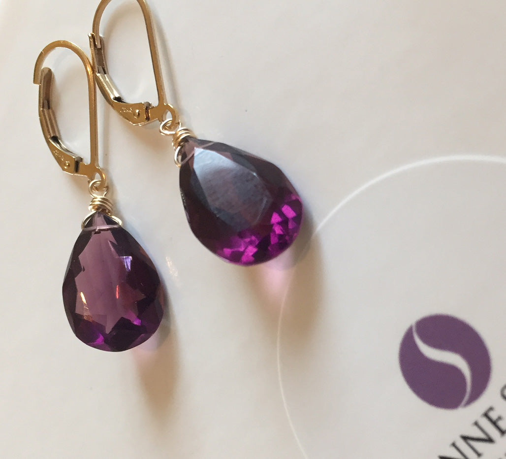 Kunzite Quartz Faceted Pear Shaped Earrings. Leverback, Gold, Rose Gold or Silver