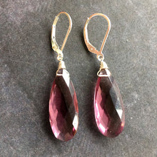 Load image into Gallery viewer, Plummy and Yummy Kunzite Quartz Dangles