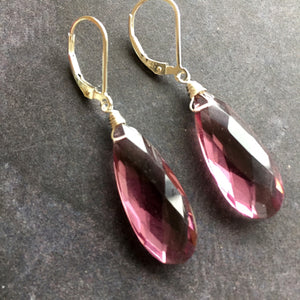 Plummy and Yummy Kunzite Quartz Dangles