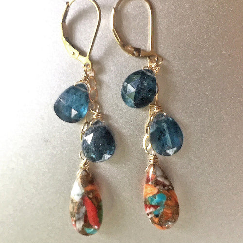 Whimsy Turquoise, Kyanite Cluster Earrings