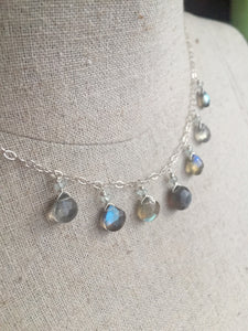 Fiery Labradorite and Aquamarine Necklace
