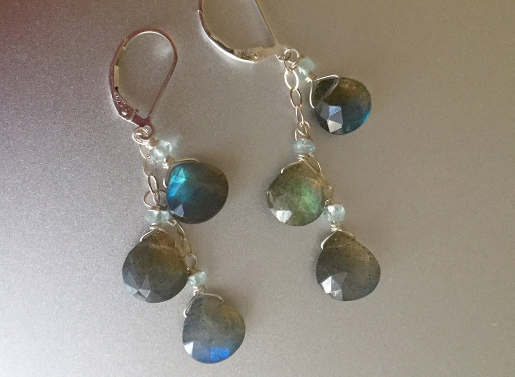 Fiery Labradorite and Aquamarine Cascade Earrings, gold or sterling